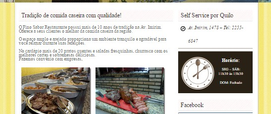 Site do restaurante Fino Sabor